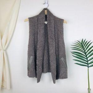 LOFT Tan Zipper Pocket Mohair Wool Boucle Cardigan
